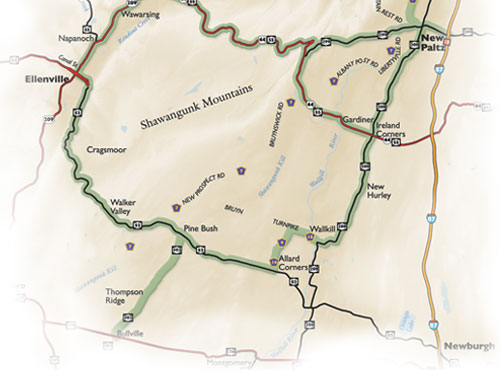 Shawangunk Mountain Scenic Byway local places map