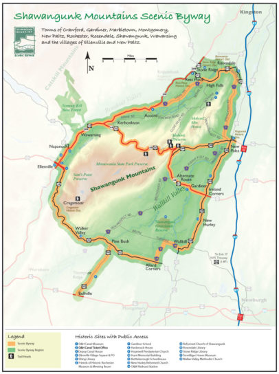 Shawangunk Mountains Scenic Byway map with key