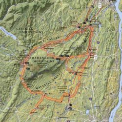 Topographic route map of the Shawangunk Mountains Scenic Byway
