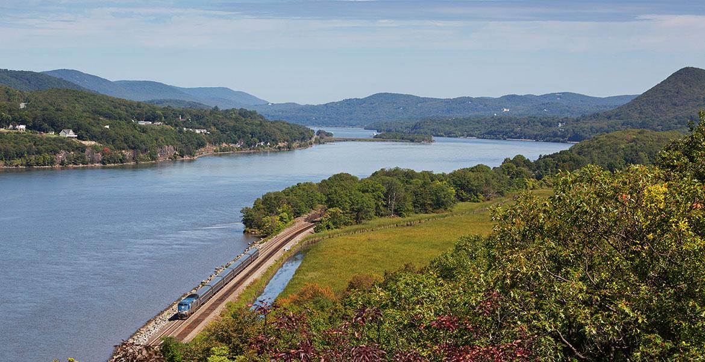 Amtrak Train on the Hudson River